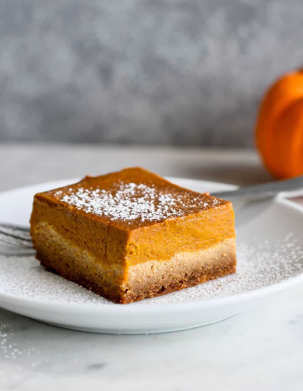 Paleo Pumpkin Pie Bars alone close up